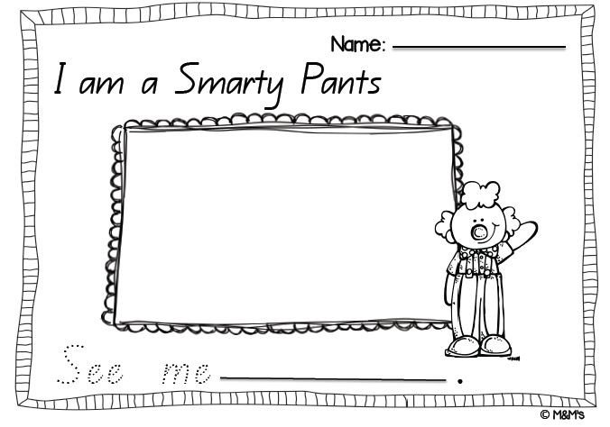 Smartie Pants Template Smarty Pants Mini Literacy Pack
