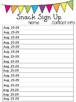 Snack Sign Up Sheet Template Editable Snack Signup Sheet by Jessica Ellis