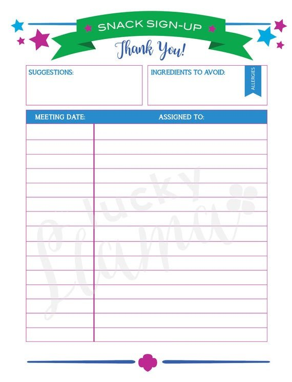 Snack Sign Up Sheet Template Printable Girl Scout Snack Sign Up Sheet Editable Version