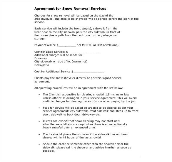 Snow Plow Contract Template 20 Snow Plowing Contract Templates Google Docs Pdf