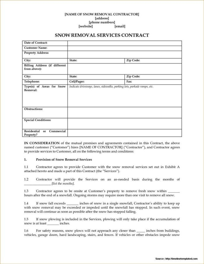 Snow Plow Contract Template Aia Contract forms List Templates Resume Examples