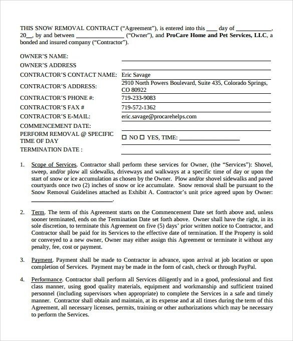 Snow Plow Contract Template Example Snow Plow Contract Template Pdf 2205