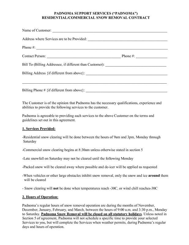 Snow Plow Contract Template Snow Plowing Contracts