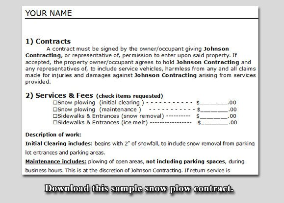 Snow Plow Contracts Templates Quotes About Business Contracts Quotesgram