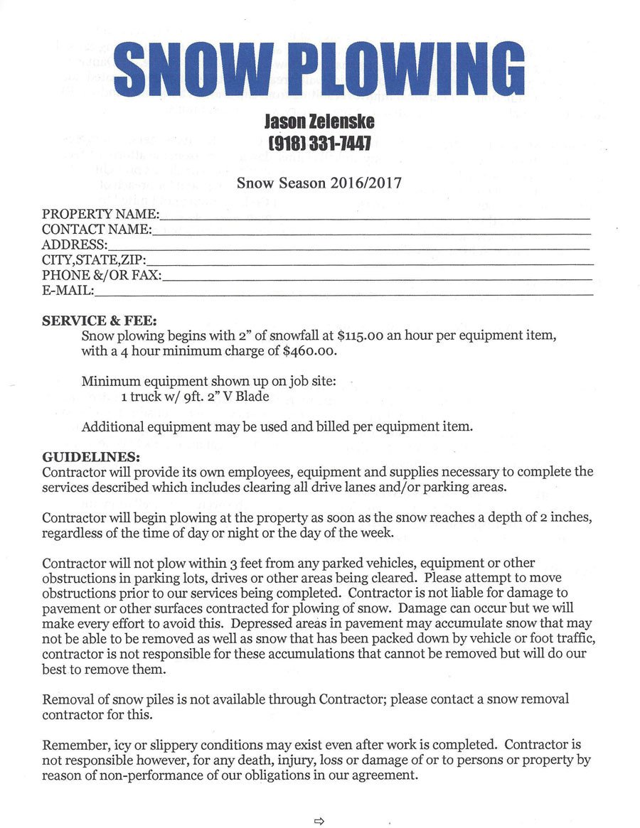 Snow Plow Contracts Templates Tulsa Snow Plowing Snow Removal Tulsa Oklahoma Contract