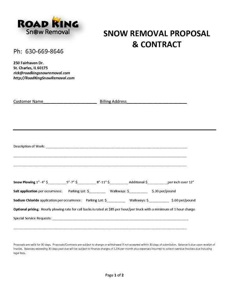 Snow Removal Contract Sample 20 Snow Plowing Contract Templates Free Download