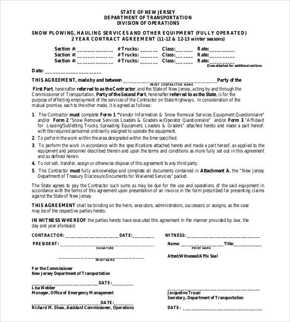 Snow Removal Contract Sample 20 Snow Plowing Contract Templates Google Docs Pdf