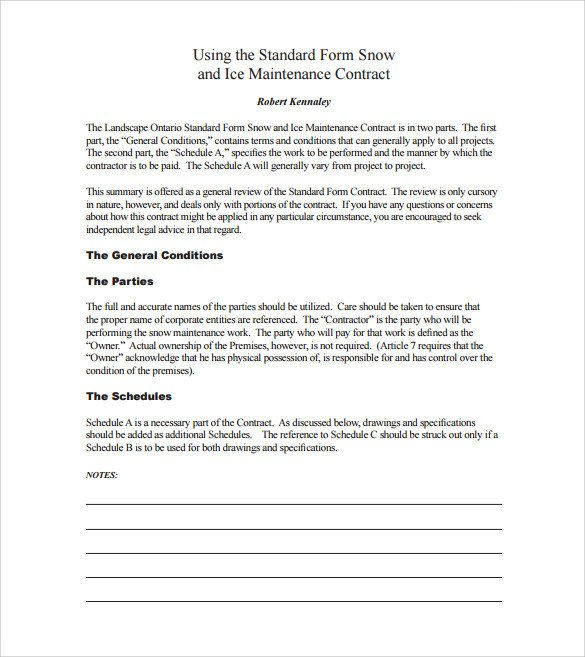 Snow Removal Contract Sample Snow Plowing Contract Template 6 Download Documents In