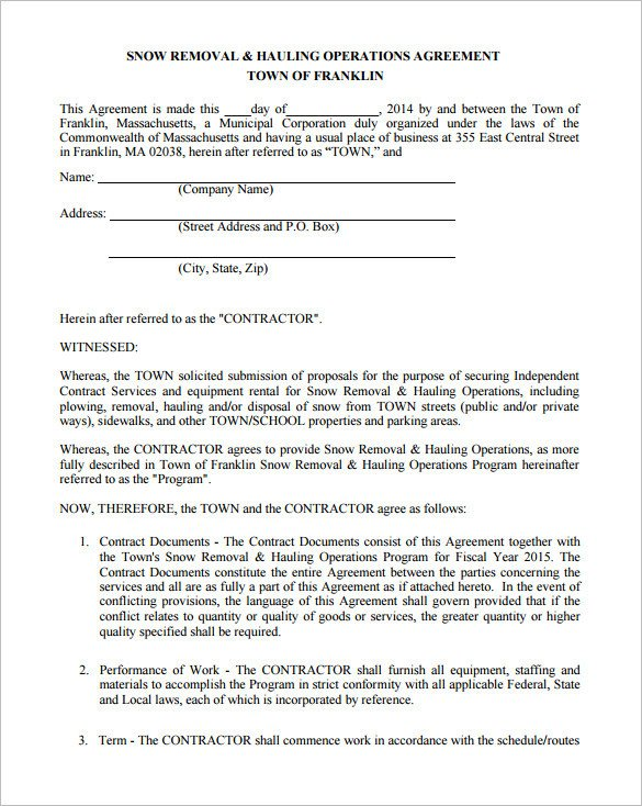 Snow Removal Contract Template 20 Snow Plowing Contract Templates Google Docs Pdf