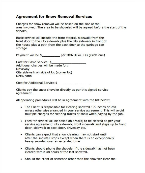 Snow Removal Contract Templates Snow Plowing Contract Template 7 Download Free