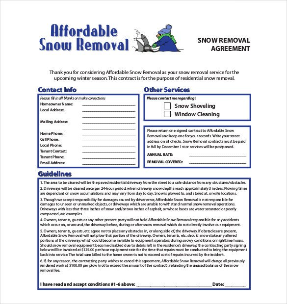 Snow Removal Contracts Template 20 Snow Plowing Contract Templates Google Docs Pdf