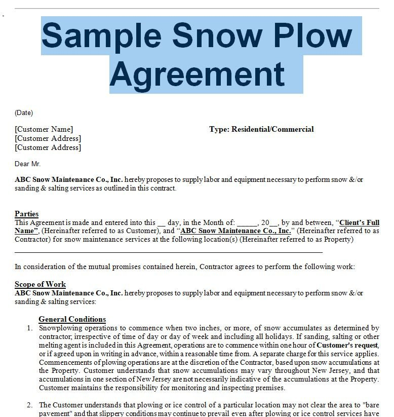 Snow Removal Contracts Templates Snow Removal Agreement and Contract