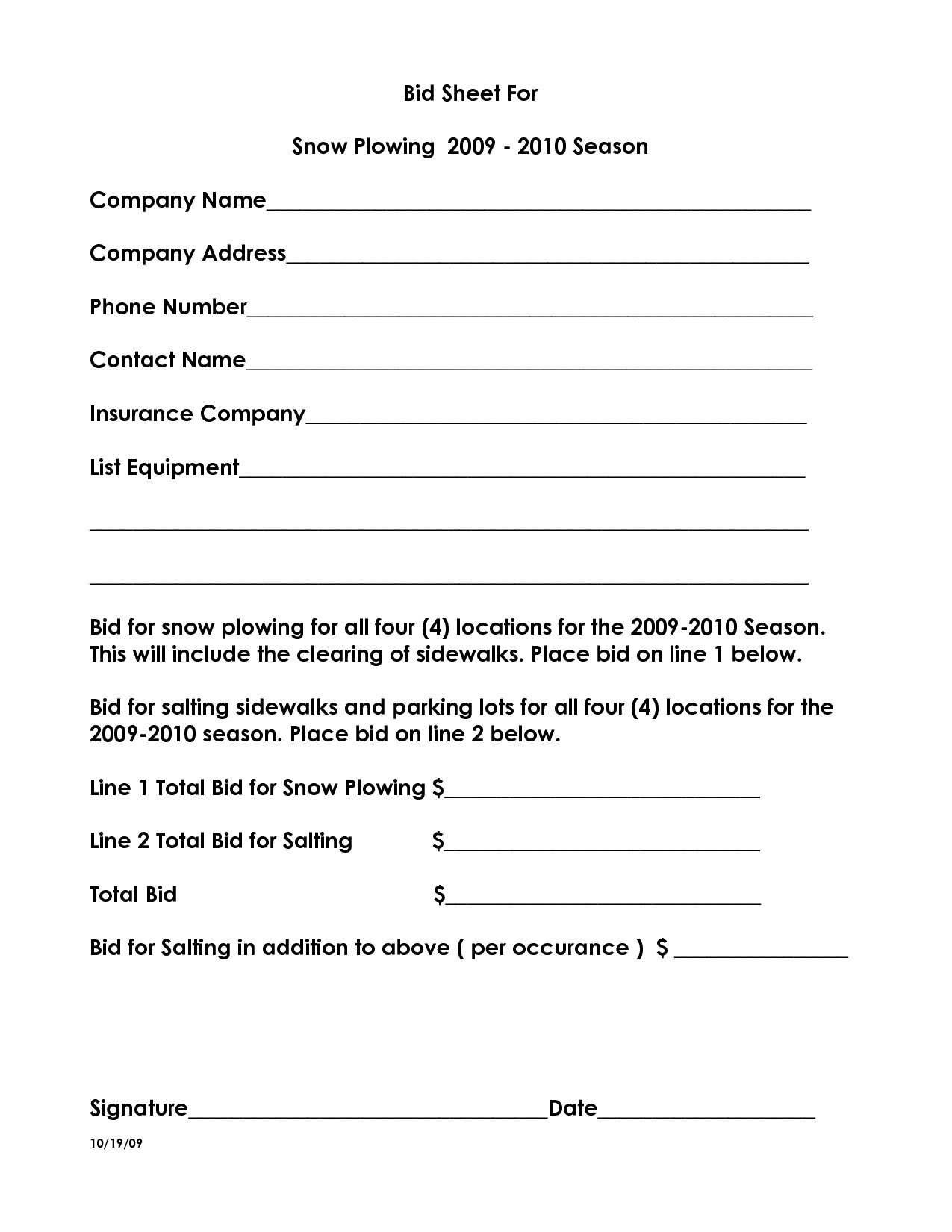 Snow Removal Quote Template 19 Of Snow Plowing Bid Sheet Template