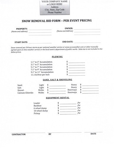 Snow Removal Quote Template Snow Removal Bid form $9 99 Download now