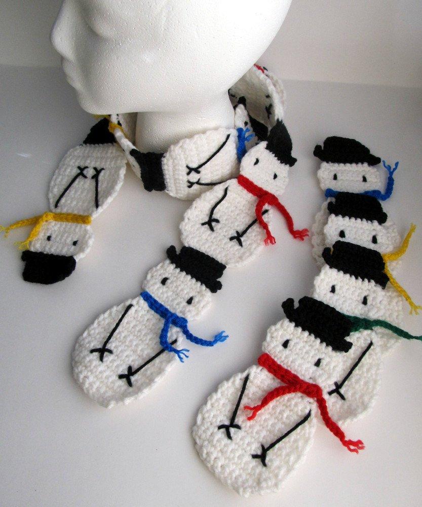 Snowman Scarf Template Pattern Crochet Snowman Applique and Snowman Scarf Pattern
