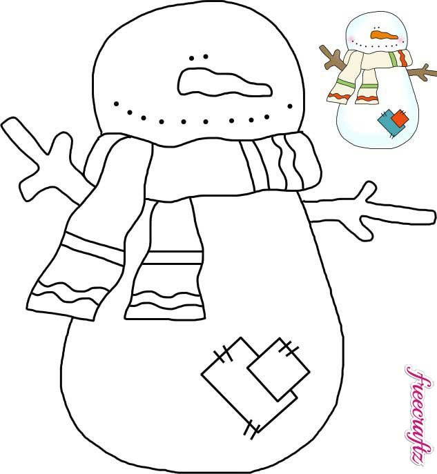 Snowman Scarf Template Snowman Template with A Scarf and Patches Freecraftz