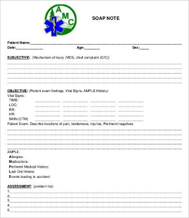 Soap Note Template Pdf soap Note Template 10 Free Word Pdf Documents Download