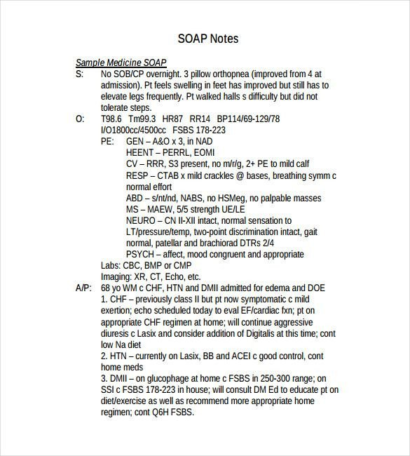 Soap Note Template Word soap Note Template – 9 Free Word Pdf format Download