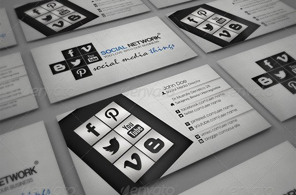 Social Media Business Card 13 social Media Business Card Templates Psd Word Ai