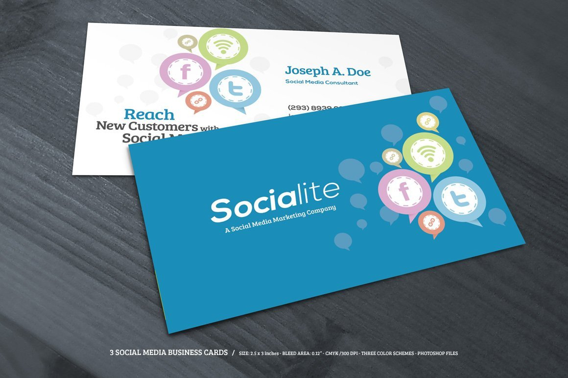 Social Media Business Card 3 social Media Business Cards Business Card Templates