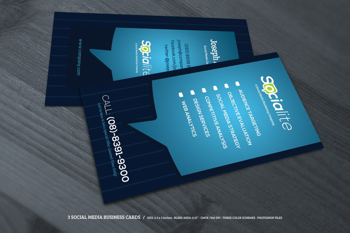 Social Media Business Card Preview 02 Creative Market 3 social Media Business Cards O