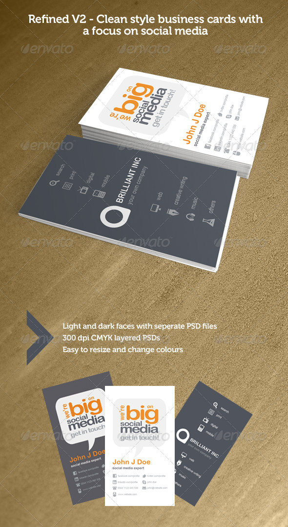 Social Media Business Card Refined V2 social Media Business Cards by ather