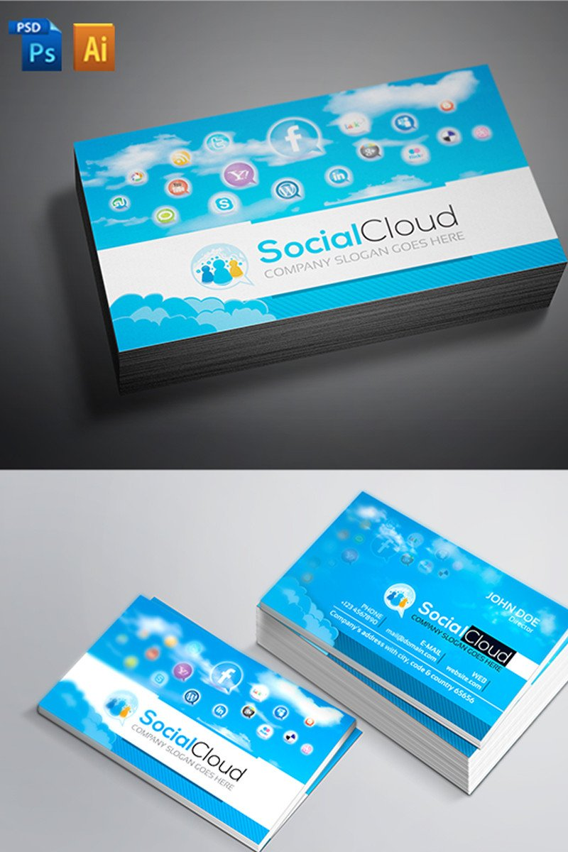 Social Media Business Card social Media Business Card Corporate Identity Template