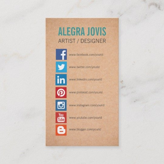 Social Media Business Card social Media Icons Symbols Business Card