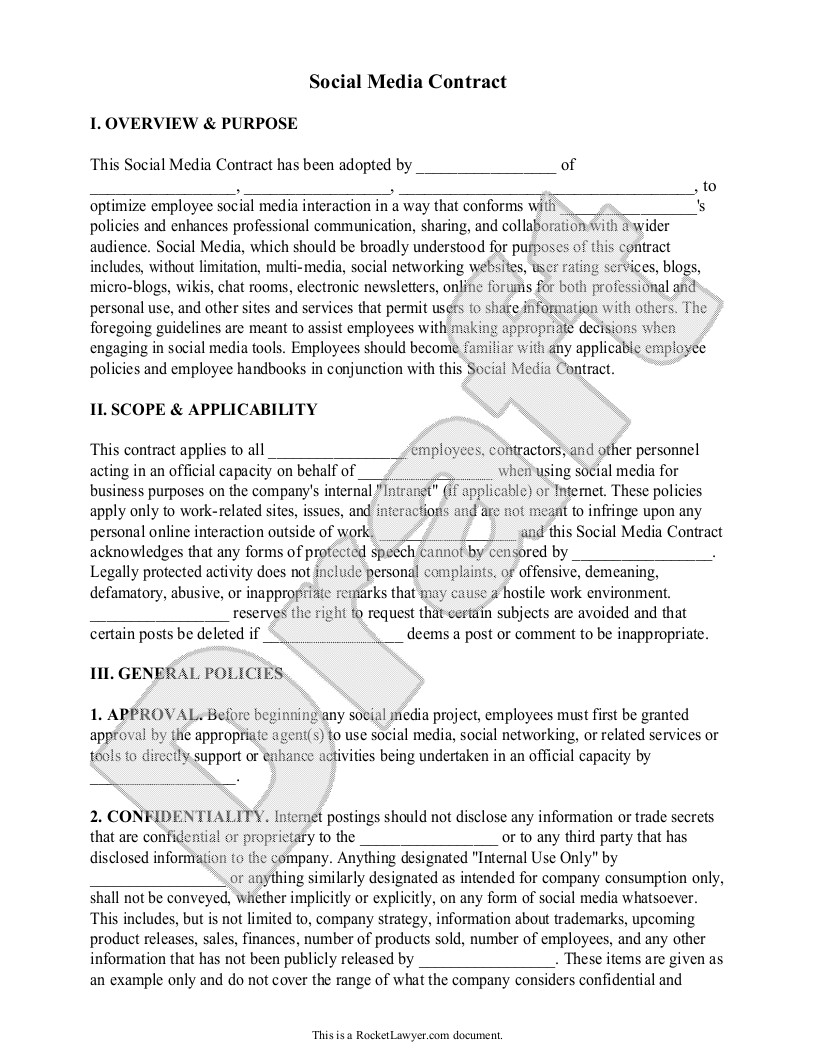Social Media Contracts Templates Sample social Media Contract form Template