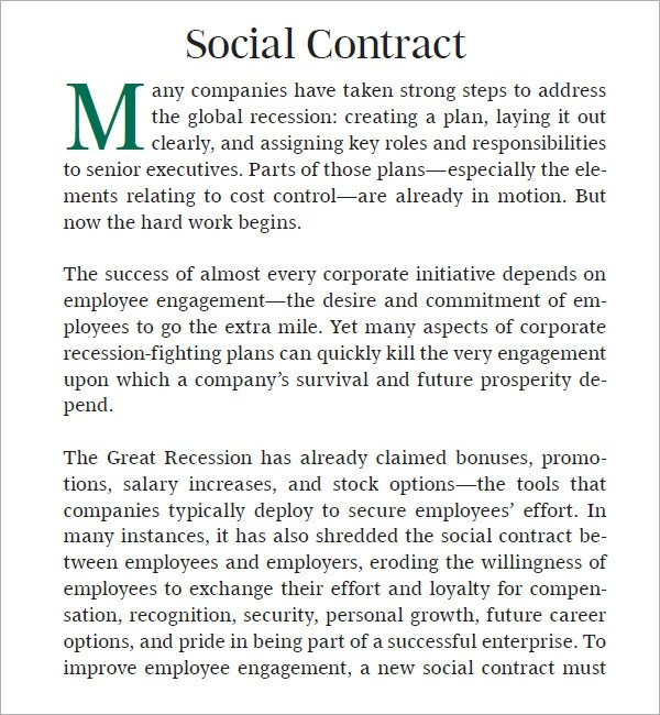 Social Media Contracts Templates social Contract 6 Free Pdf Download
