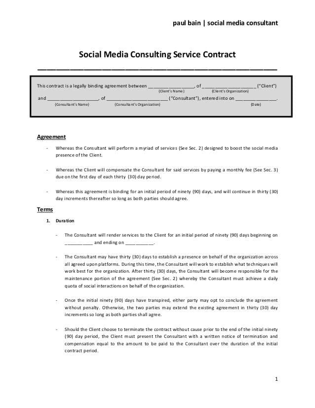 Social Media Contracts Templates social Media Contract Templates Word Excel Samples
