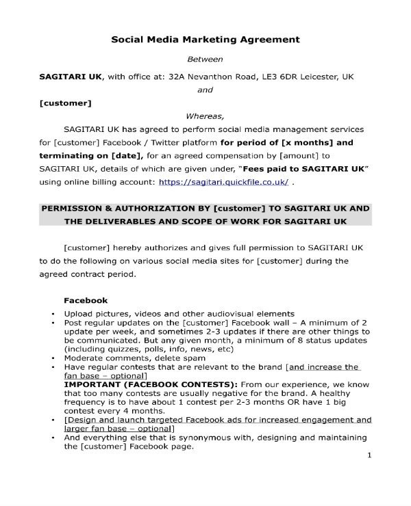 Social Media Management Contract 3 social Media Marketing Contract Templates Pdf Word