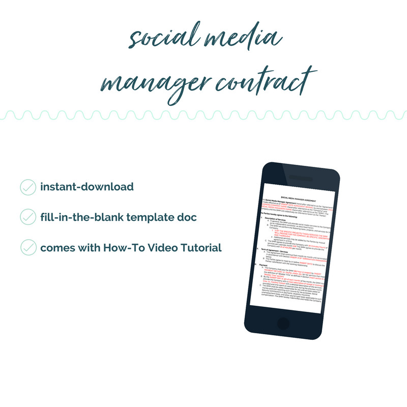 Social Media Management Contract Diy social Media Manager Contract Template