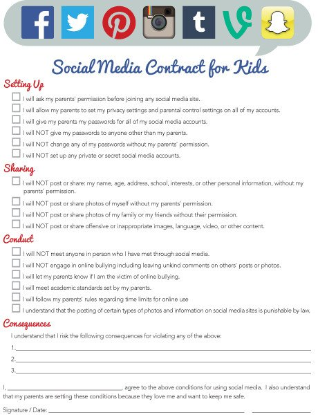 "Social Media Management Contract Imom Fers New ""social Media Contract for Kids"" Printable"