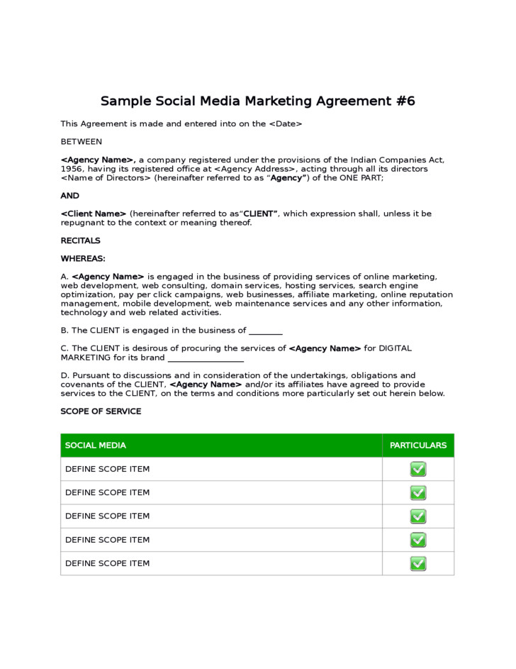 Social Media Management Contract social Media Agreement Template Marketing Templates