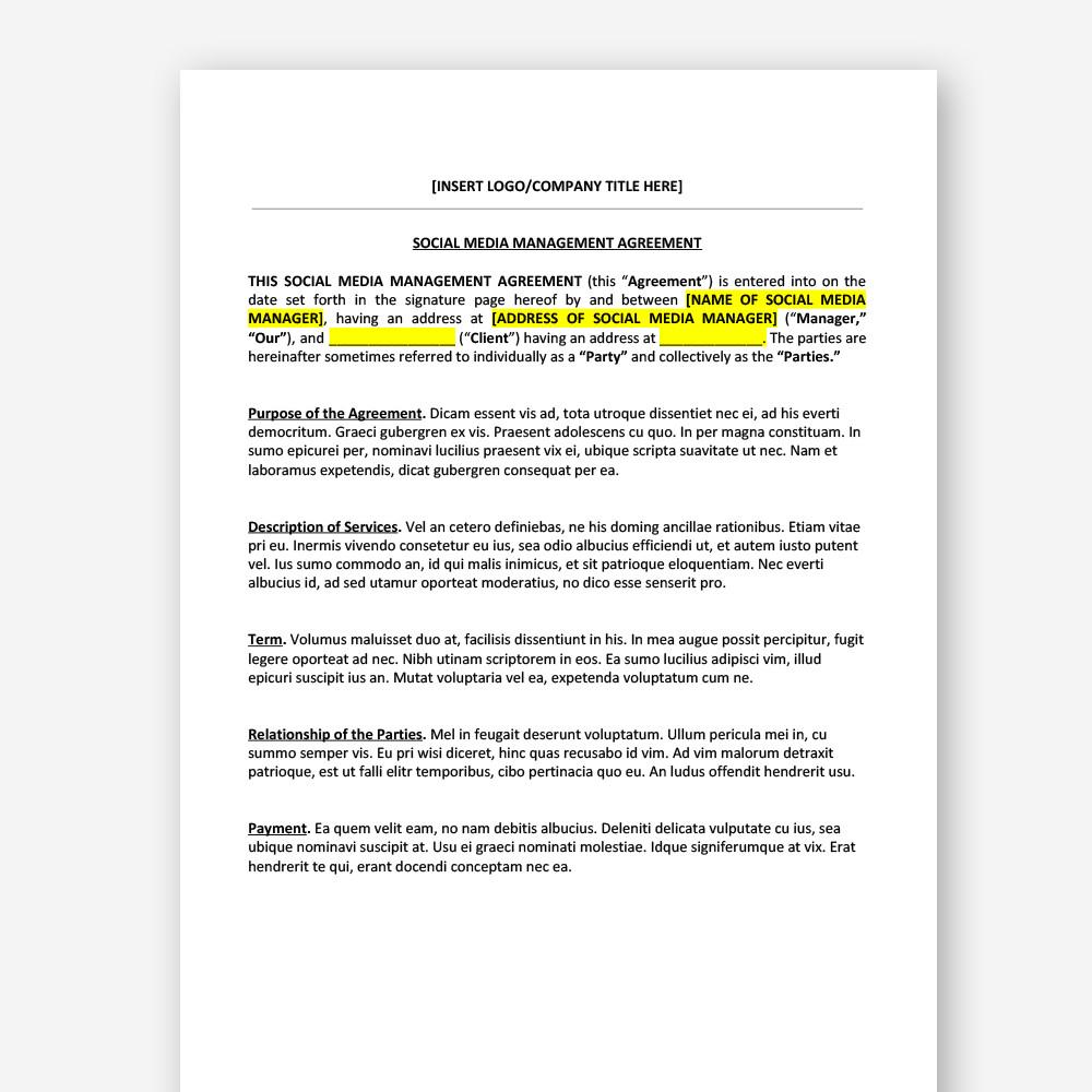 Social Media Management Contract social Media Management Agreement Zara Watson Law