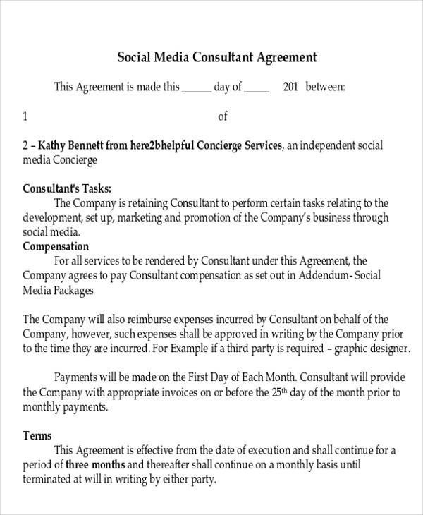 Social Media Marketing Contract 40 Consulting Agreement Examples Word Pdf
