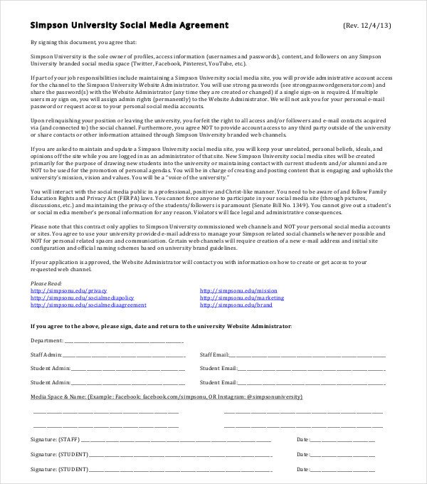 Social Media Marketing Contract 6 social Media Marketing Agreement Templates Pdf Doc