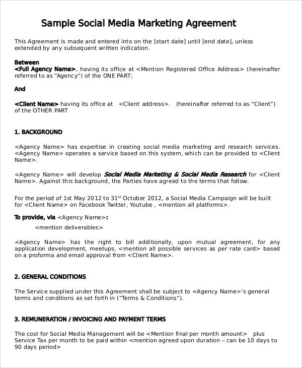 Social Media Marketing Contract Sample Marketing Consulting Agreement 13 Documents In Pdf
