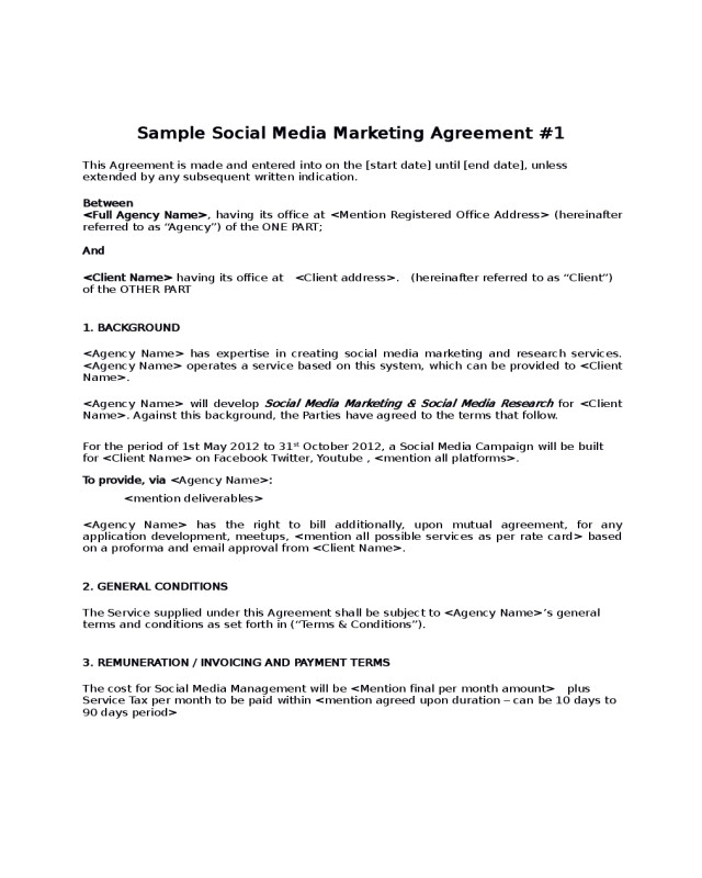 Social Media Marketing Contract Sample social Media Marketing Agreement Edit Fill Sign