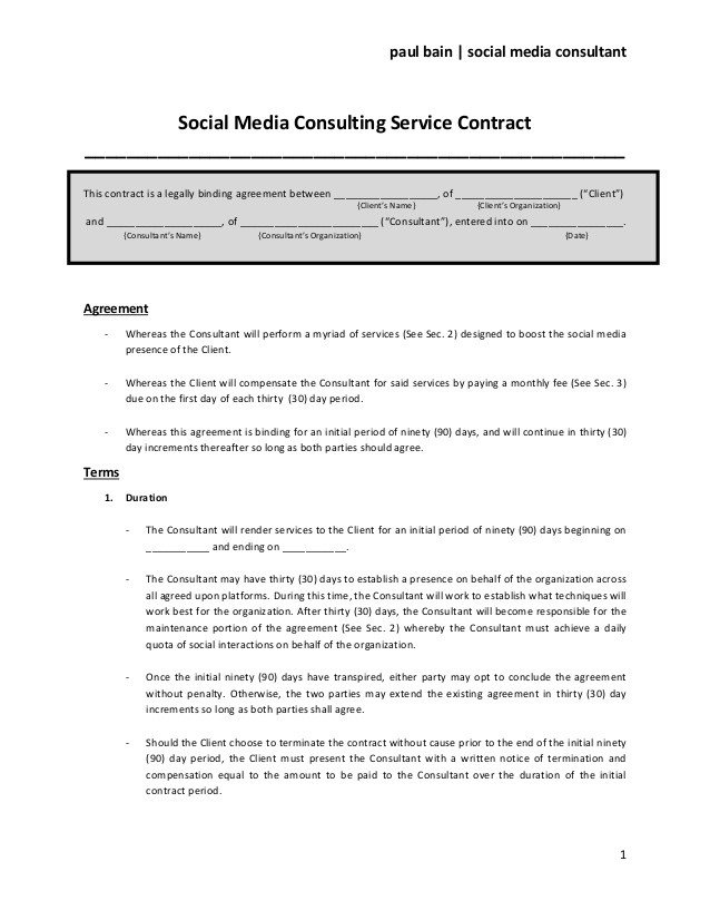 Social Media Marketing Contract social Media Consulting Services Contract