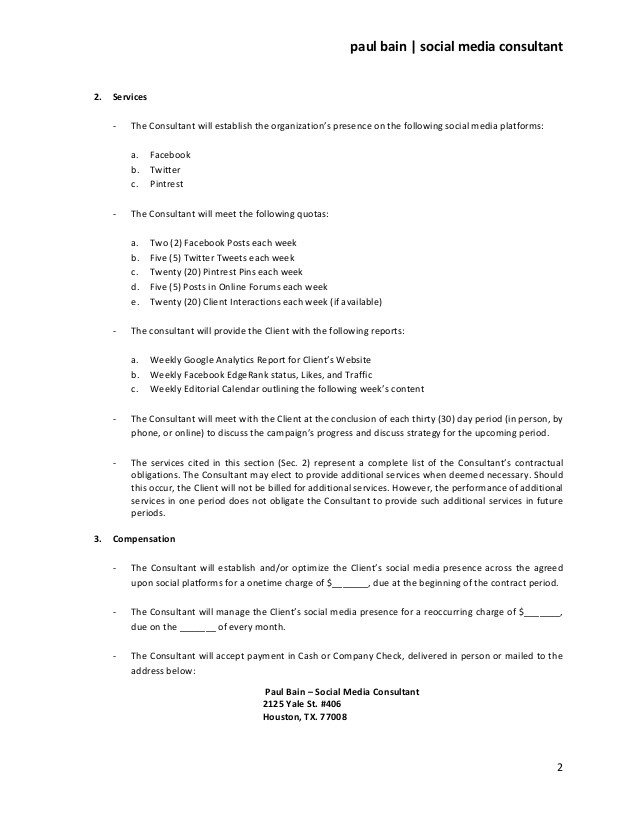 Social Media Marketing Contract social Media Marketing Contract Template Five Reasons You