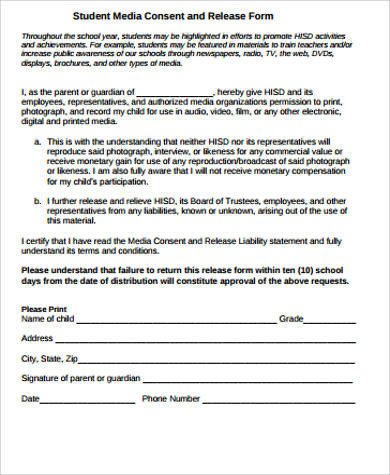 Social Media Release form Sample Media Release form 10 Examples In Word Pdf