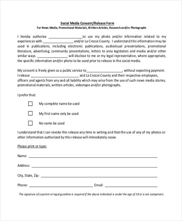 Social Media Release form Sample Media Release form 10 Free Documents In Pdf