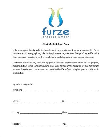 Social Media Release form Sample Media Release forms 10 Free Documents In Pdf