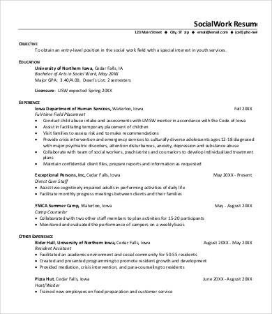 Social Work Resume Template 10 social Work Resume Templates Pdf Doc