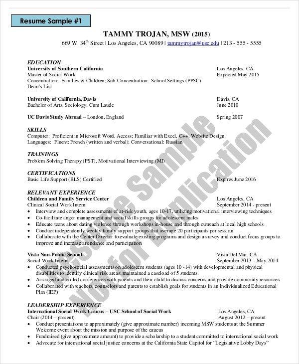 Social Work Resume Template Microsoft Work Resume Template 8 Free Word Pdf