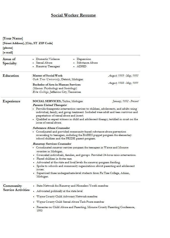 Social Work Resume Template Modern social Worker Resume Template Sample