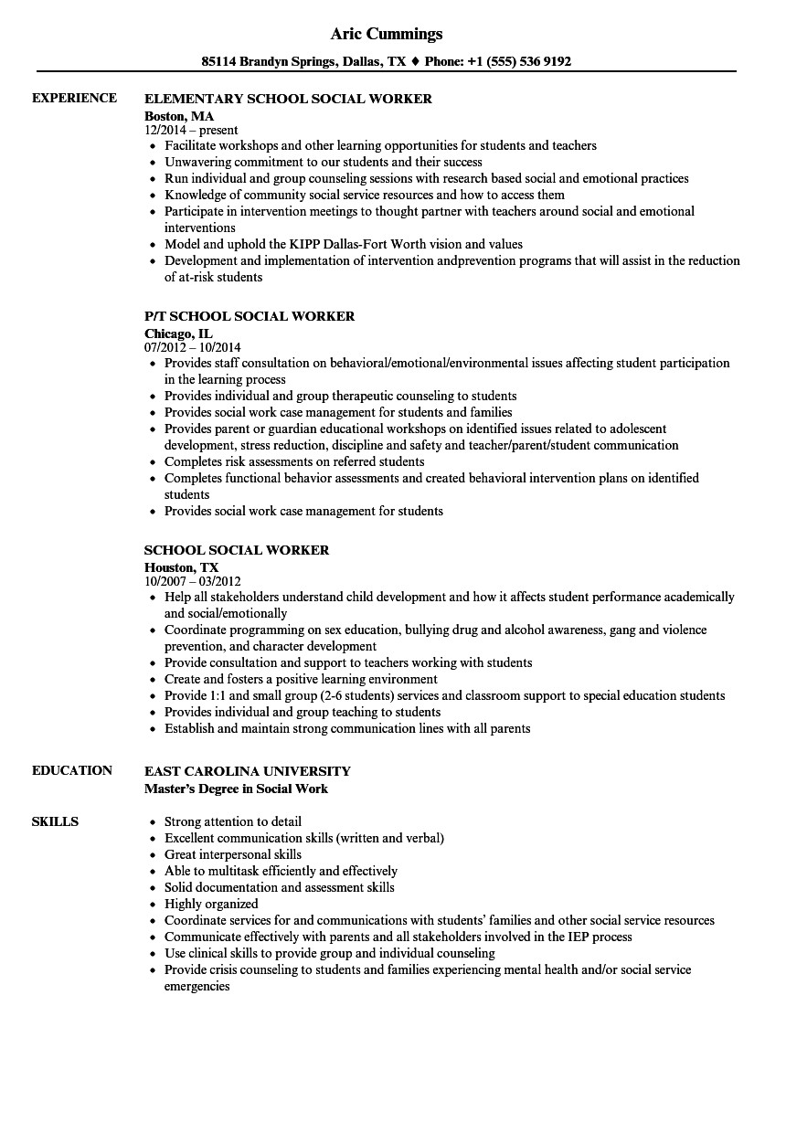Social Work Resume Template School social Worker Resume Samples