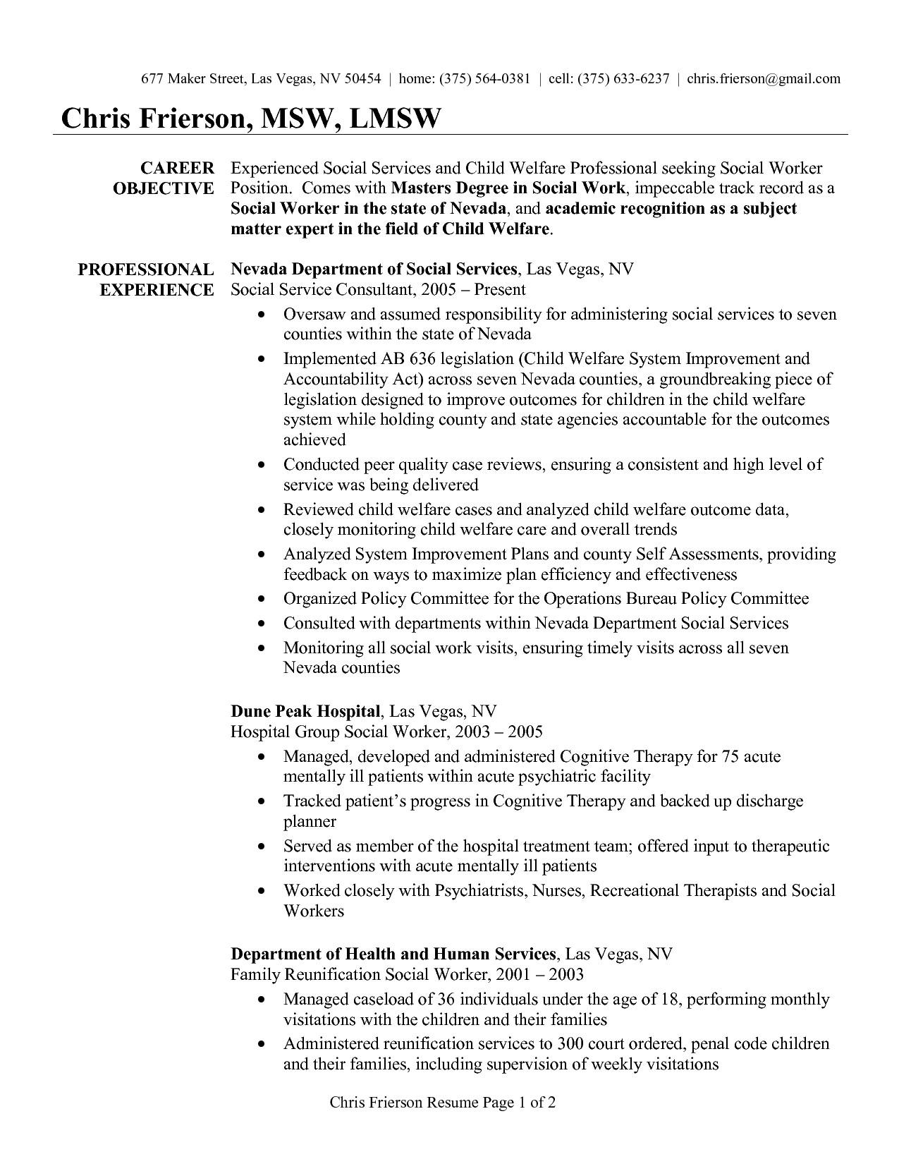 Social Work Resume Template social Work Resume Examples